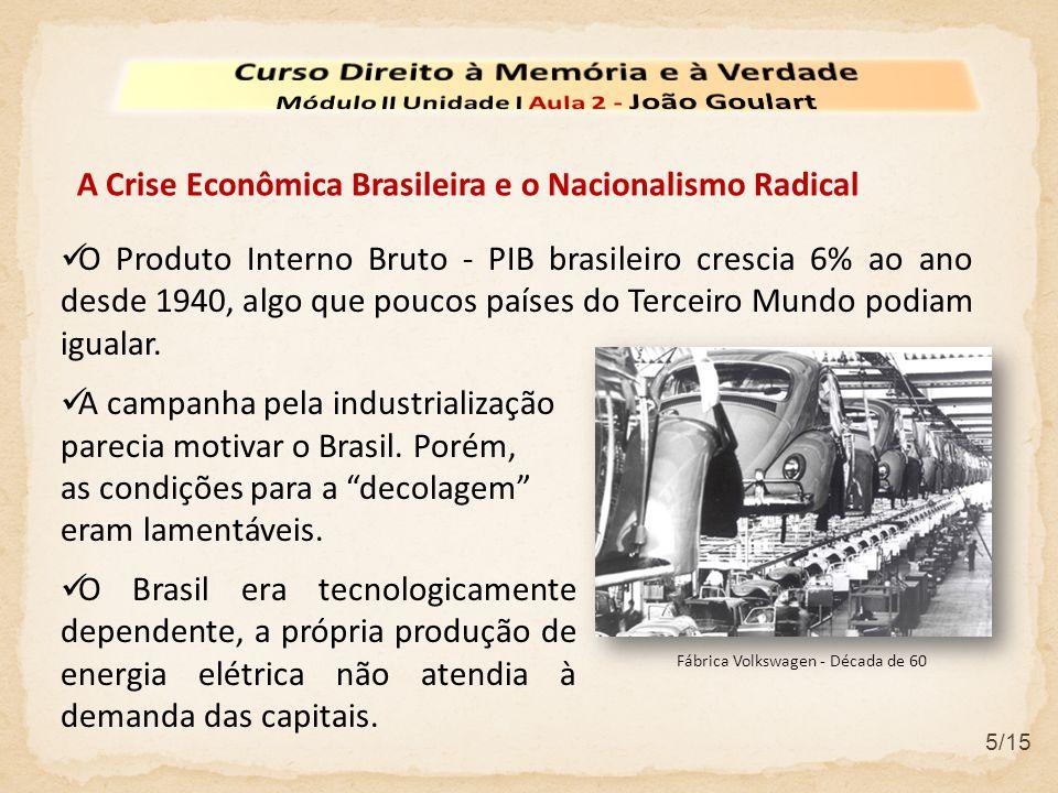5/15  O Produto Interno Bruto - PIB brasileiro crescia 6% ao ano desde 1940, algo que poucos países do Terceiro Mundo podiam igualar.