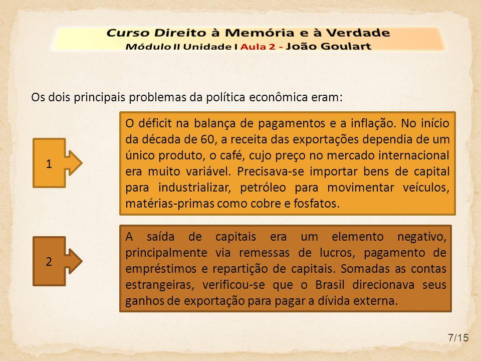 2 7/15 Os dois principais problemas da política econômica eram: A saída de capitais era um elemento negativo, principalmente via remessas de lucros, pagamento de empréstimos e repartição de capitais.