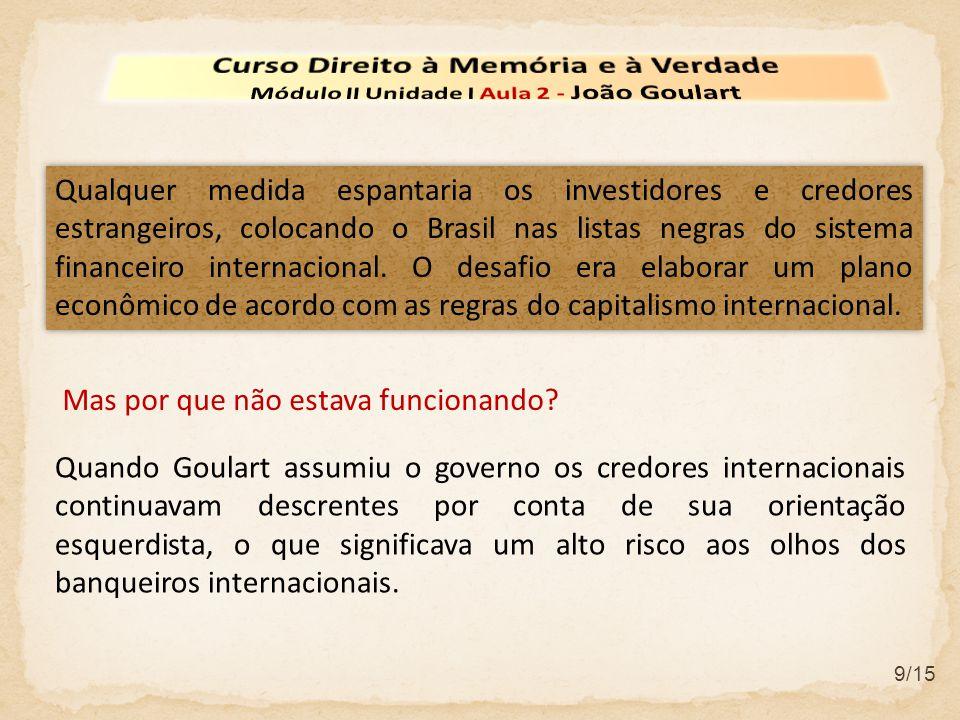 9/15 Qualquer medida espantaria os investidores e credores estrangeiros, colocando o Brasil nas listas negras do sistema financeiro internacional. O d