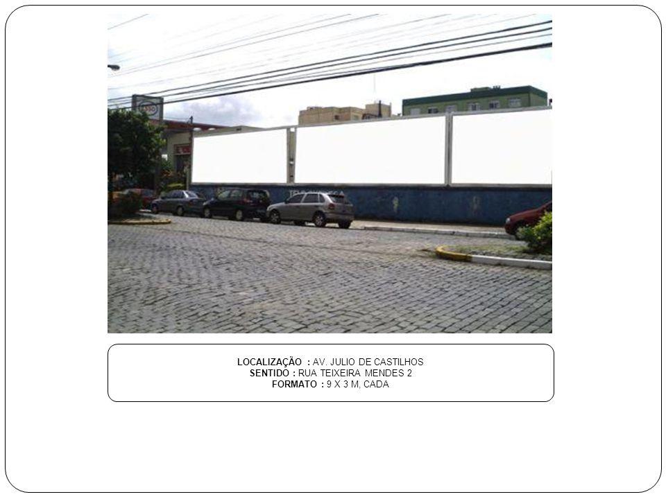 LOCALIZAÇÃO : AV. JULIO DE CASTILHOS SENTIDO : RUA TEIXEIRA MENDES 2 FORMATO : 9 X 3 M, CADA