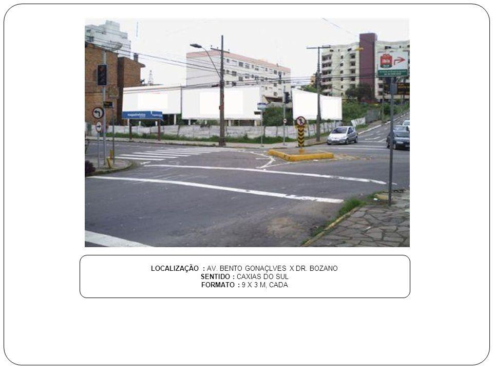 LOCALIZAÇÃO : AV. MATEO GIANELA X CARLOS BIANCHINI SENTIDO : CAXIAS DO SUL FORMATO : 9 X 3 M, CADA