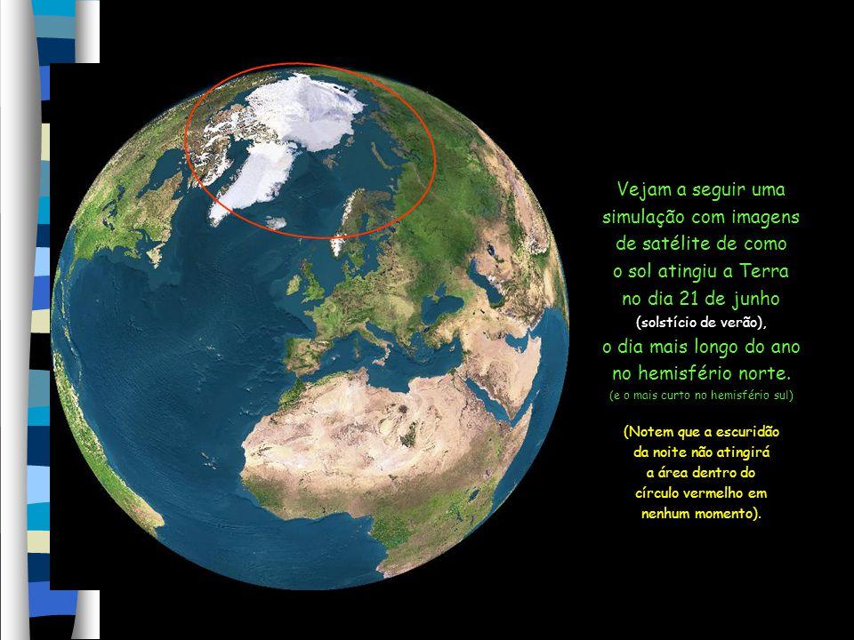 Filipa Vicente Devido à inclinação do eixo da Terra, a área em torno do Pólo Norte fica exposta ao sol 24h/dia no verão.