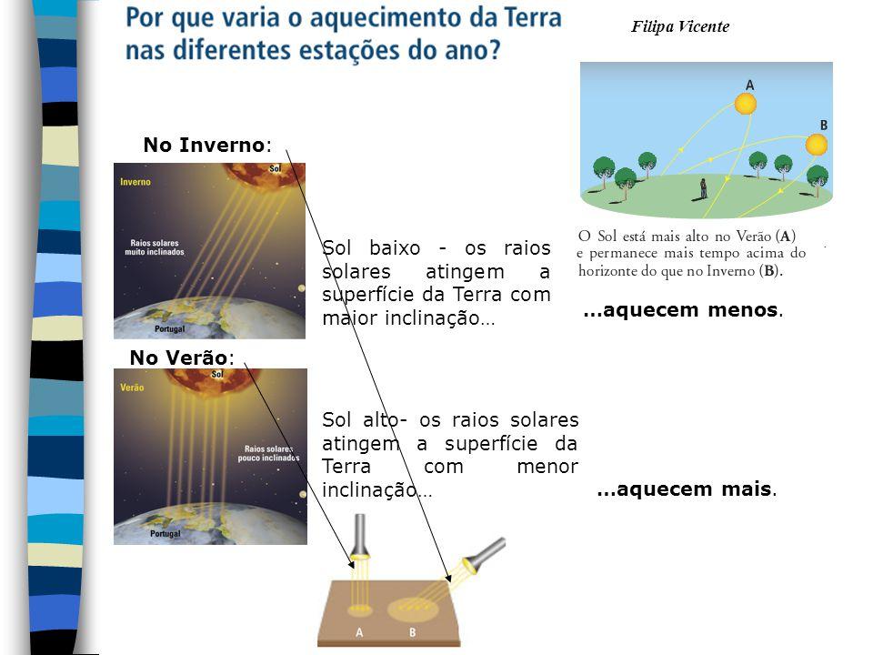 Filipa Vicente 10 Durante o movimento de translação, o eixo da Terra mantém-se sempre com a mesma inclinação, cerca de 23,5º.