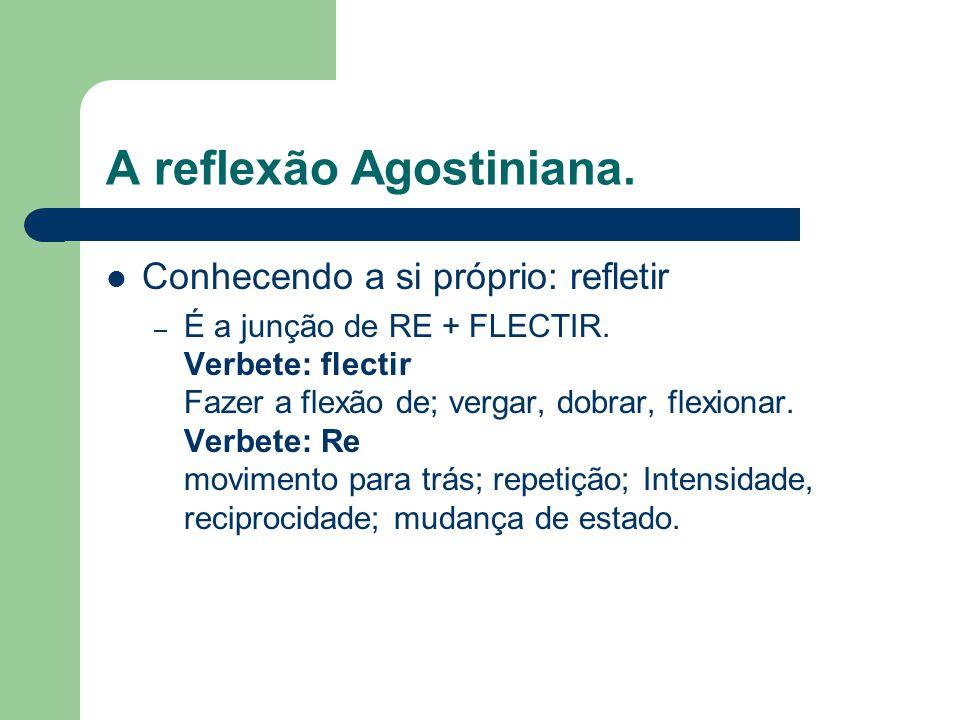 A reflexão Agostiniana. Conhecendo a si próprio: refletir – É a junção de RE + FLECTIR.