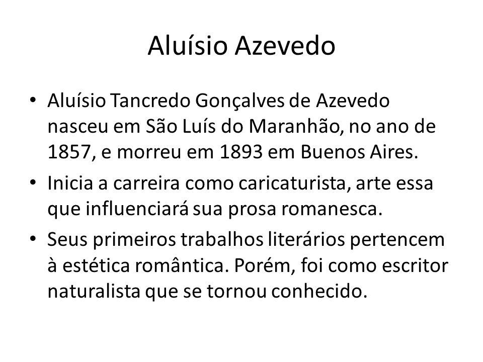 Aluísio Azevedo • Aluísio Tancredo Gonçalves de Azevedo nasceu em São Luís do Maranhão, no ano de 1857, e morreu em 1893 em Buenos Aires. • Inicia a c