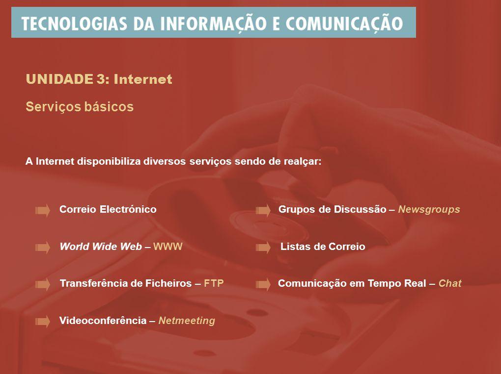 UNIDADE 3: Internet Serviços básicos A Internet disponibiliza diversos serviços sendo de realçar: Correio Electrónico World Wide Web – WWW Transferência de Ficheiros – FTP Listas de Correio Grupos de Discussão – Newsgroups Comunicação em Tempo Real – Chat Videoconferência – Netmeeting