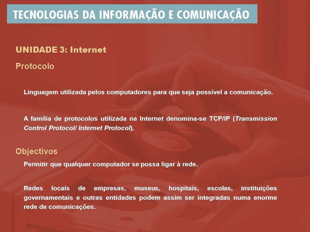 UNIDADE 3: Internet A família de protocolos utilizada na Internet denomina-se TCP/IP (Transmission Control Protocol/ Internet Protocol).