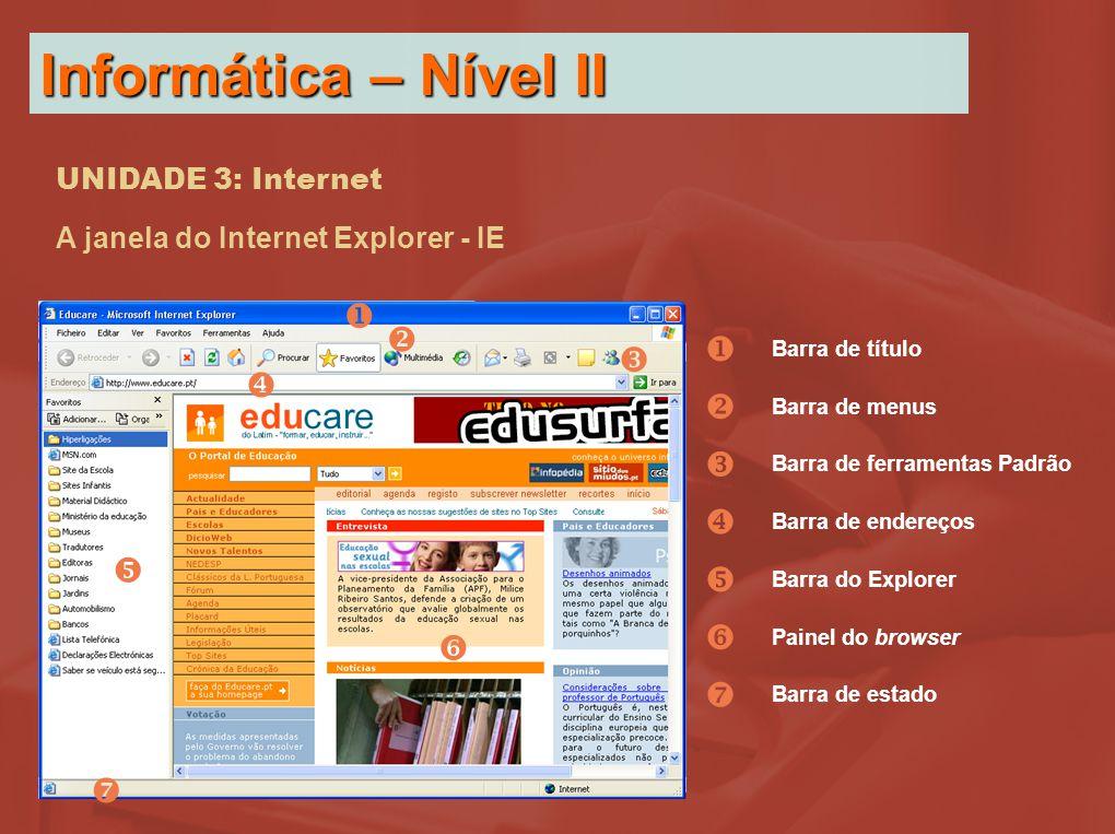 UNIDADE 3: Internet A janela do Internet Explorer - IE        Barra de título Barra de menus Barra de ferramentas Padrão Barra de endereços Barra do Explorer Painel do browser        Barra de estado Informática – Nível II