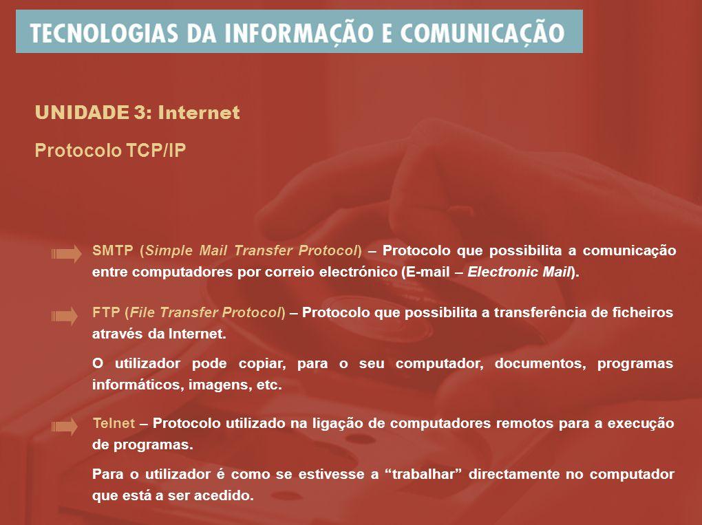 UNIDADE 3: Internet Protocolo TCP/IP FTP (File Transfer Protocol) – Protocolo que possibilita a transferência de ficheiros através da Internet. O util