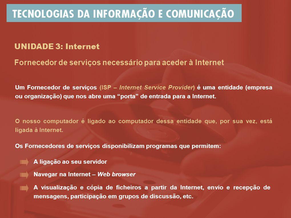 UNIDADE 3: Internet Um Fornecedor de serviços (ISP – Internet Service Provider) é uma entidade (empresa ou organização) que nos abre uma porta de entrada para a Internet.
