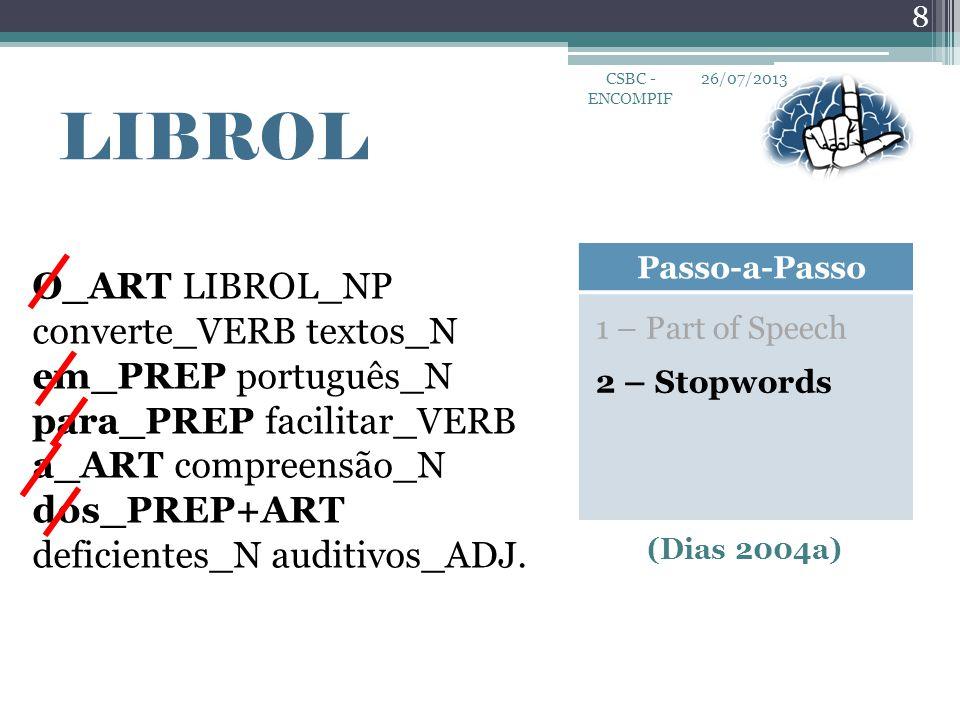 26/07/2013 8 CSBC - ENCOMPIF LIBROL Passo-a-Passo 1 – Part of Speech 2 – Stopwords O_ART LIBROL_NP converte_VERB textos_N em_PREP português_N para_PRE