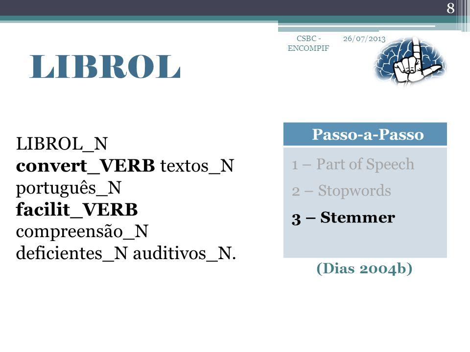 26/07/2013 8 CSBC - ENCOMPIF LIBROL Passo-a-Passo 1 – Part of Speech 2 – Stopwords 3 – Stemmer LIBROL_N convert_VERB textos_N português_N facilit_VERB