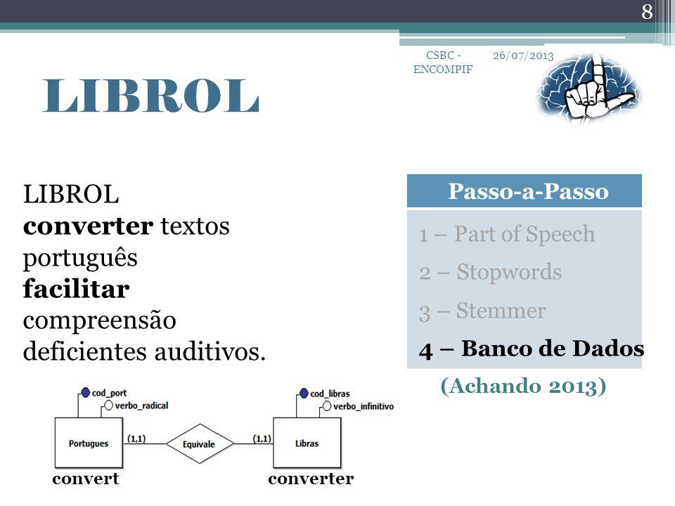 26/07/2013 8 CSBC - ENCOMPIF LIBROL Passo-a-Passo LIBROL converter textos português facilitar compreensão deficientes auditivos. 1 – Part of Speech 2