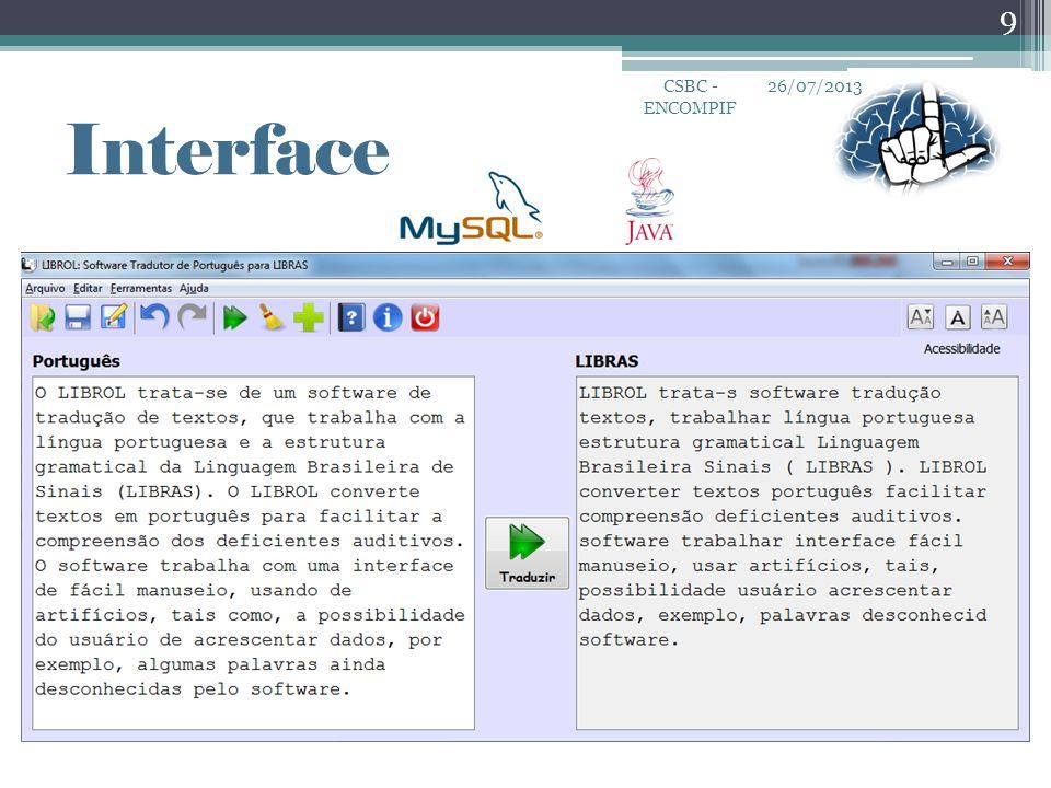 26/07/2013CSBC - ENCOMPIF 9 Interface