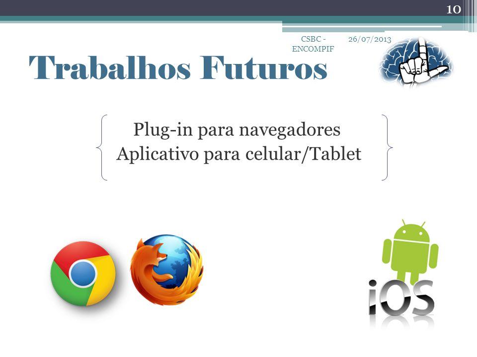 Plug-in para navegadores Aplicativo para celular/Tablet 26/07/2013CSBC - ENCOMPIF 10 Trabalhos Futuros