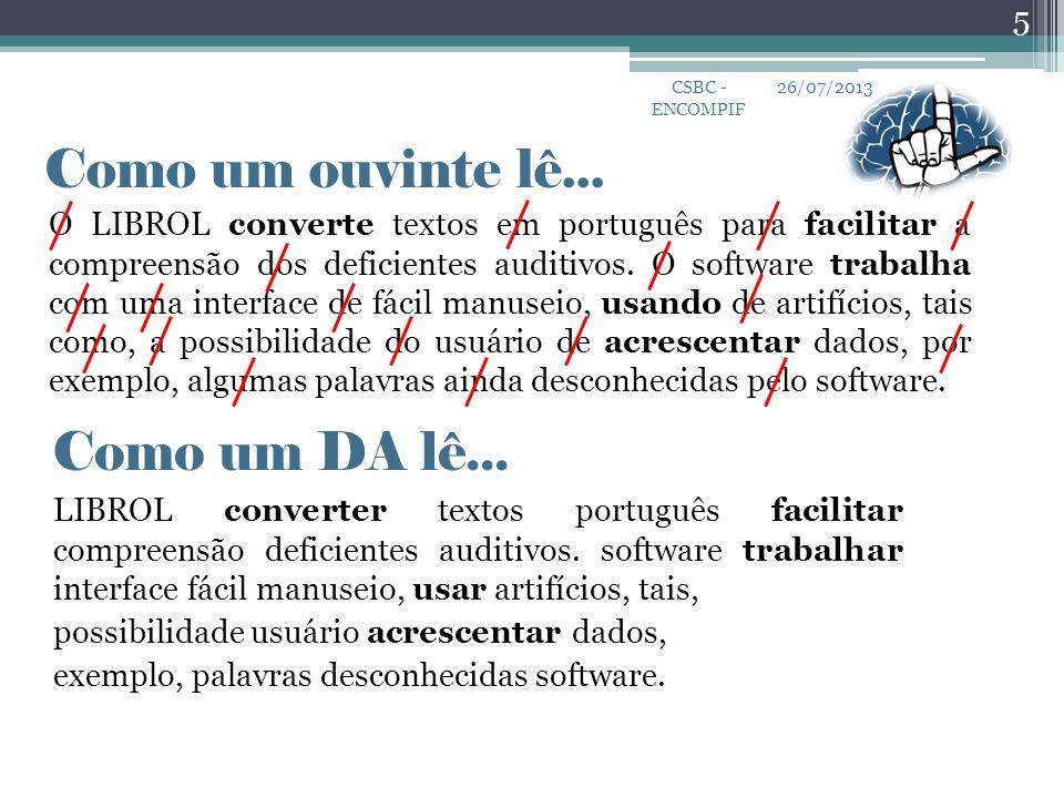 Como um ouvinte lê... O LIBROL converte textos em português para facilitar a compreensão dos deficientes auditivos. O software trabalha com uma interf