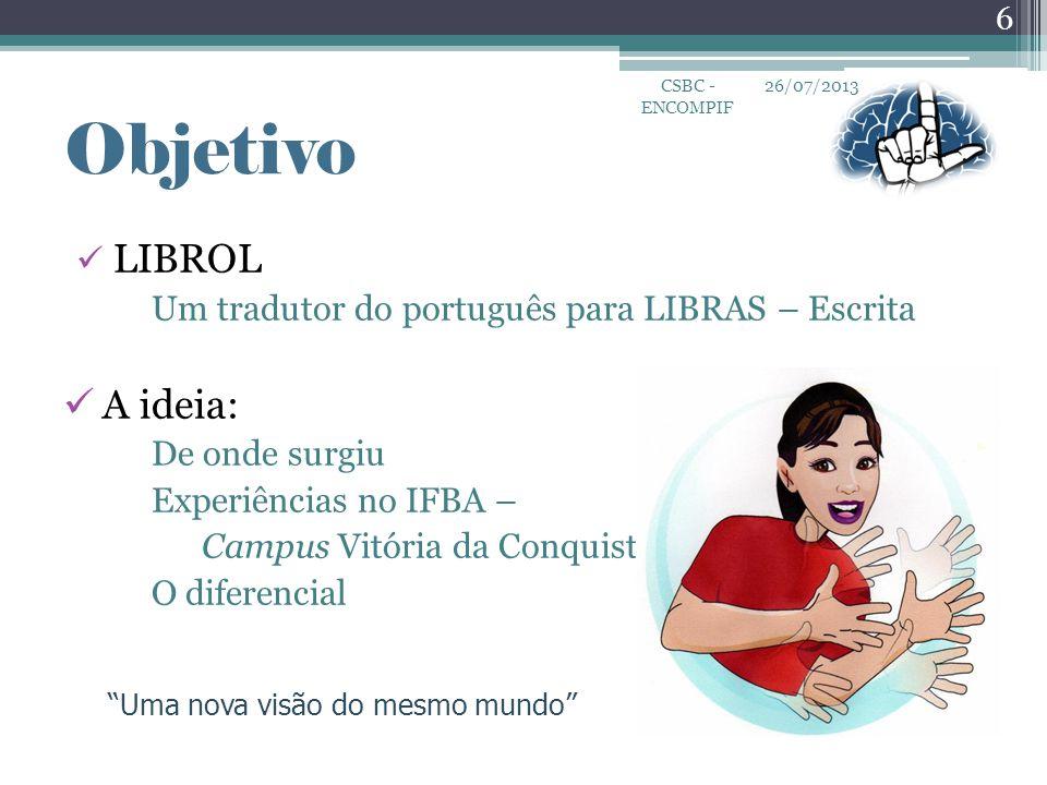 """""""Uma nova visão do mesmo mundo"""" Objetivo  LIBROL Um tradutor do português para LIBRAS – Escrita  A ideia: De onde surgiu Experiências no IFBA – Camp"""