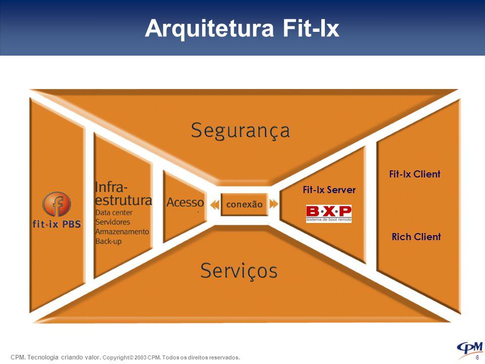 CPM. Tecnologia criando valor. Copyright© 2003 CPM. Todos os direitos reservados. 6 Arquitetura Fit-Ix Fit-Ix Server Fit-Ix Client Rich Client