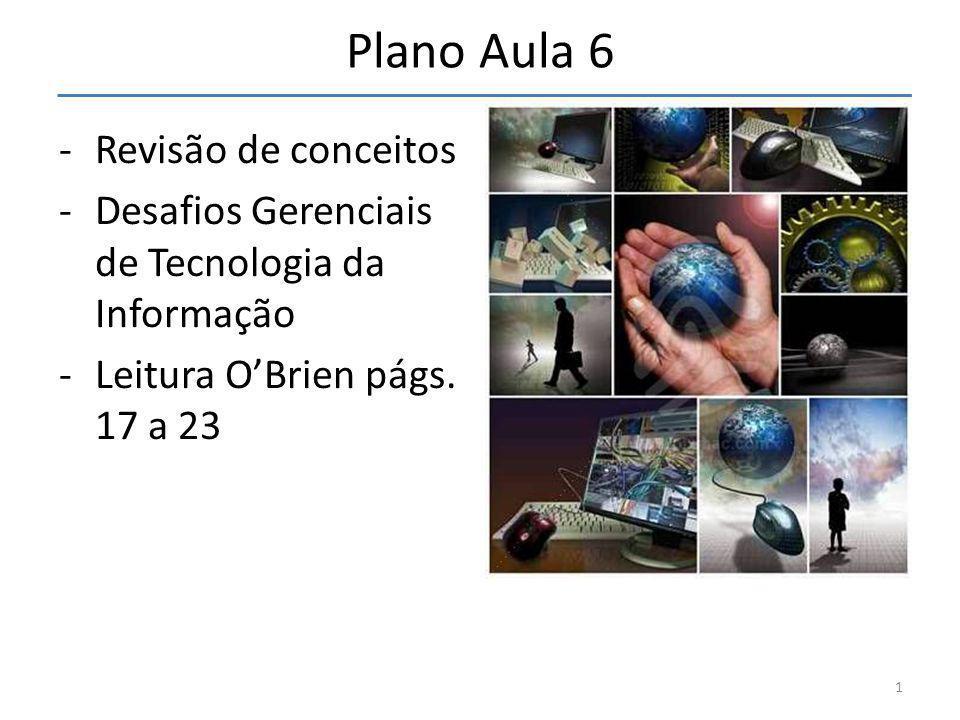 Plano Aula 6 -Revisão de conceitos -Desafios Gerenciais de Tecnologia da Informação -Leitura O'Brien págs. 17 a 23 1