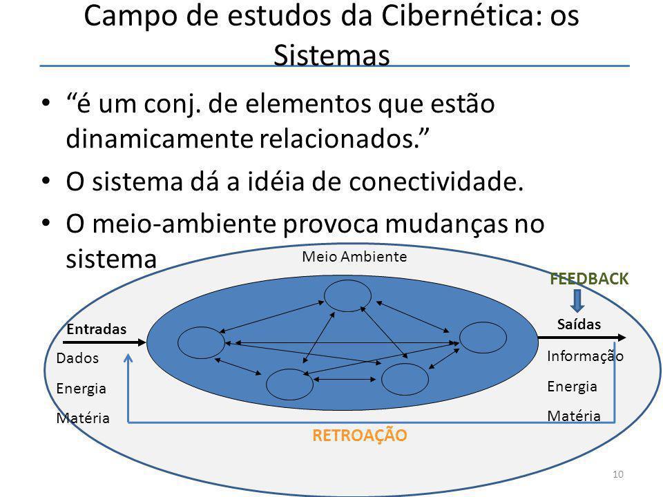 """Campo de estudos da Cibernética: os Sistemas • """"é um conj. de elementos que estão dinamicamente relacionados."""" • O sistema dá a idéia de conectividade"""