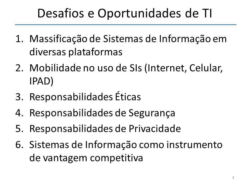 Desafios e Oportunidades de TI 1.Massificação de Sistemas de Informação em diversas plataformas 2.Mobilidade no uso de SIs (Internet, Celular, IPAD) 3