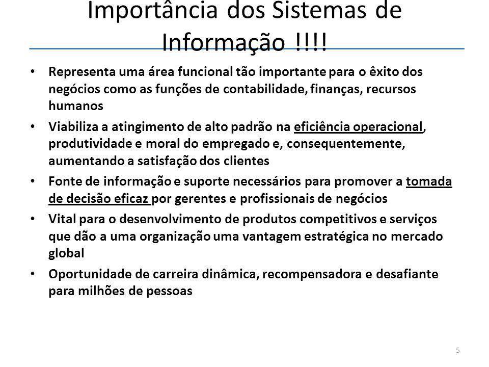 Importância dos Sistemas de Informação !!!! • Representa uma área funcional tão importante para o êxito dos negócios como as funções de contabilidade,