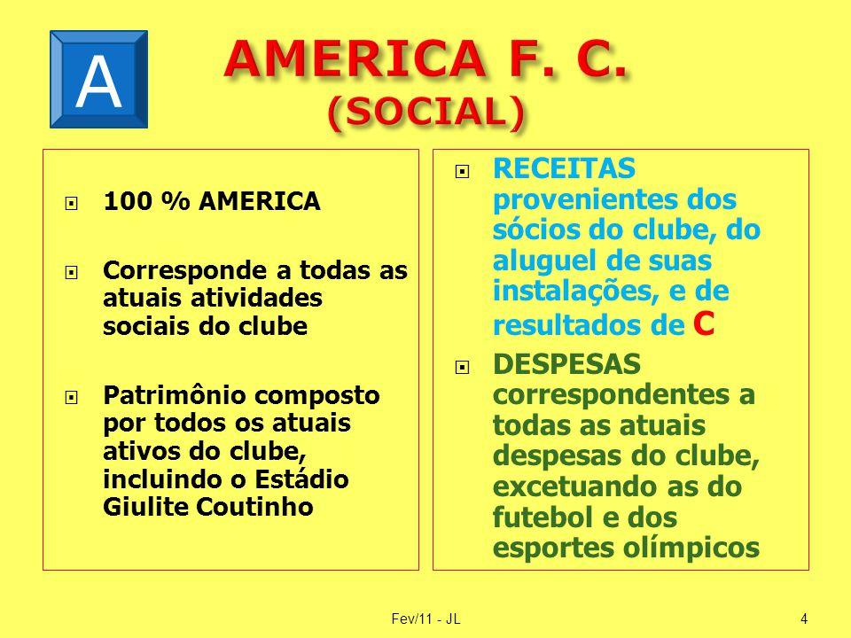  100 % AMERICA  Corresponde a todas as atuais atividades sociais do clube  Patrimônio composto por todos os atuais ativos do clube, incluindo o Est