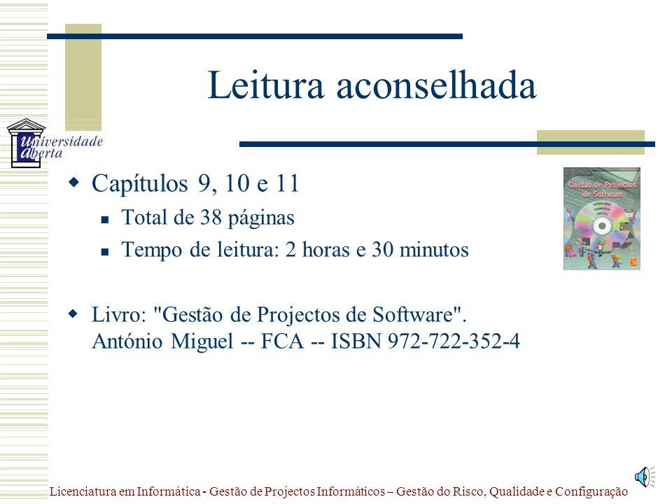 Licenciatura em Informática - Gestão de Projectos Informáticos – Gestão do Risco, Qualidade e Configuração Sumário  Leitura aconselhada  Matéria  R
