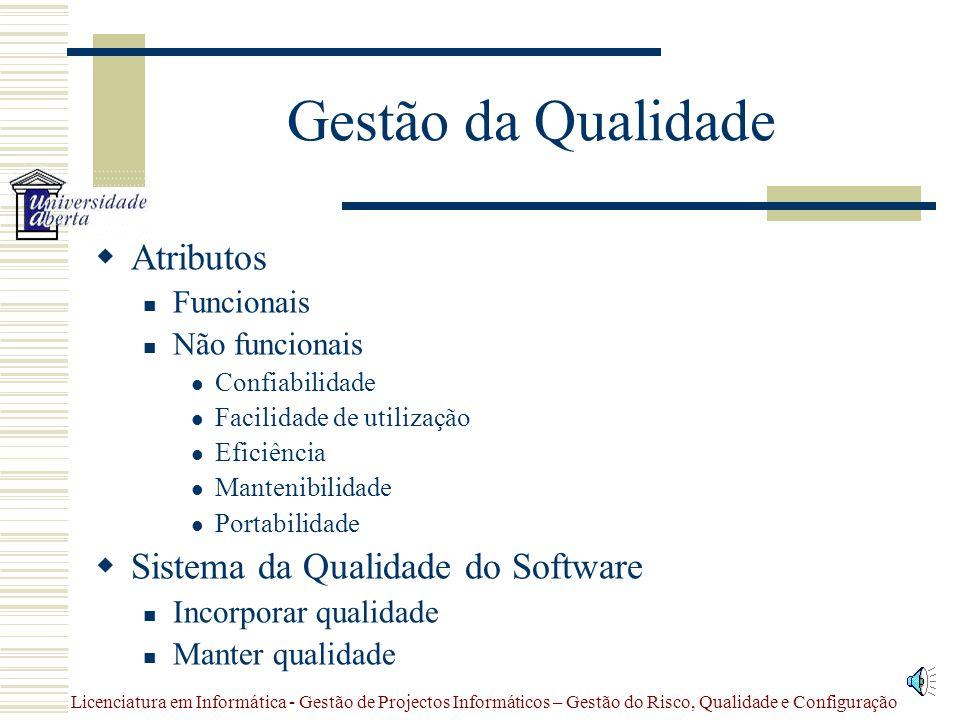 Licenciatura em Informática - Gestão de Projectos Informáticos – Gestão do Risco, Qualidade e Configuração Gestão da Qualidade  Definição  Custos 