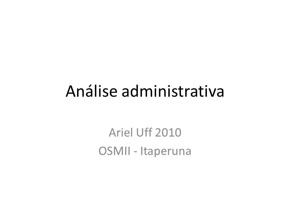 Análise administrativa • Conceito – Processo de trabalho • Efetuar diagnósticos situacionais das causas e estudar soluções integradas para problemas administrativos.