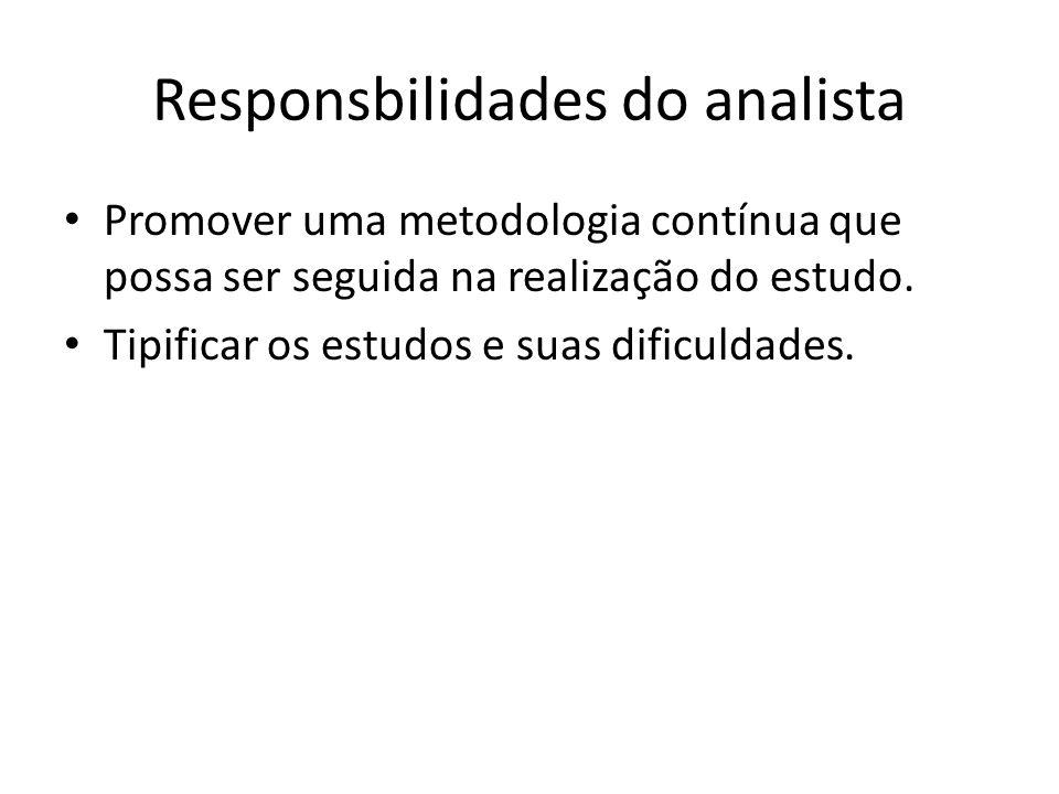 Responsbilidades do analista • Promover uma metodologia contínua que possa ser seguida na realização do estudo. • Tipificar os estudos e suas dificuld