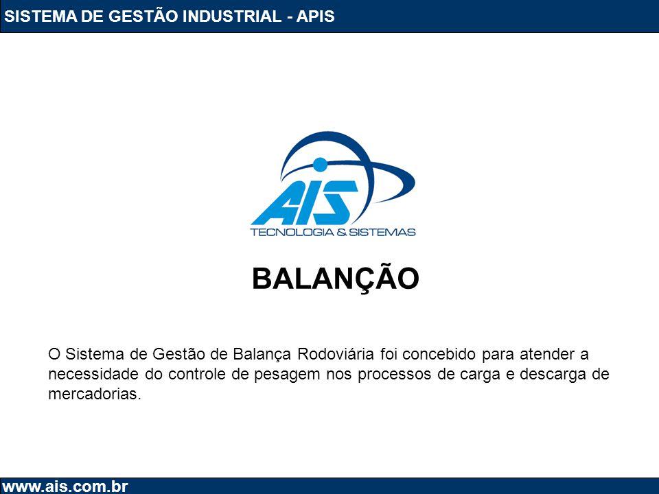 SISTEMA DE GESTÃO INDUSTRIAL - APIS www.ais.com.br BALANÇÃO O Sistema de Gestão de Balança Rodoviária foi concebido para atender a necessidade do cont
