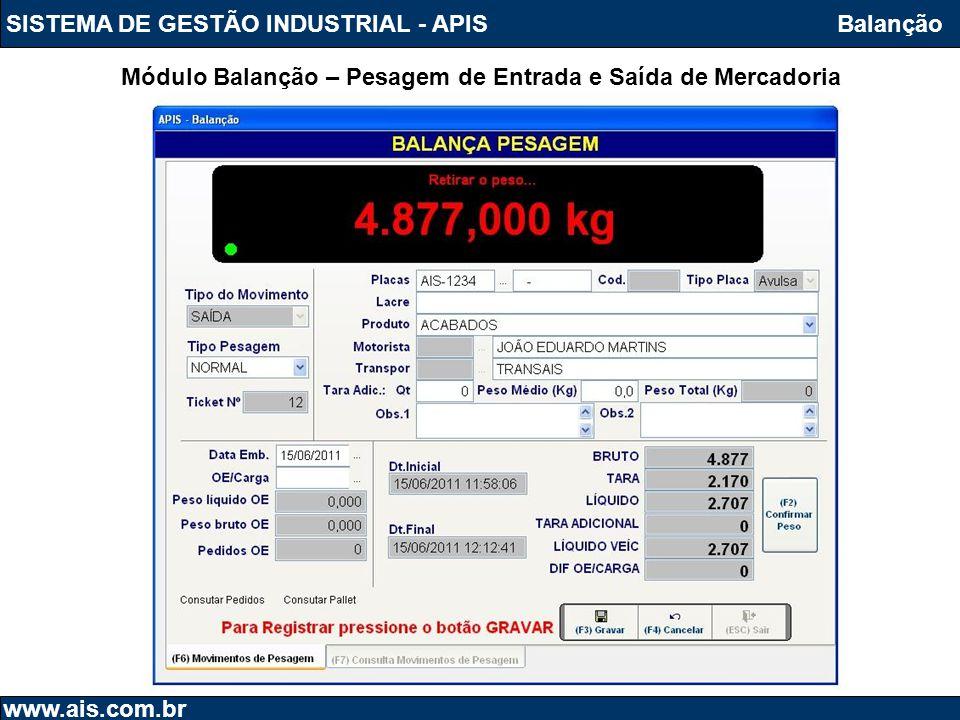 SISTEMA DE GESTÃO INDUSTRIAL - APIS www.ais.com.br Balanção Módulo Balanção – Pesagem de Entrada e Saída de Mercadoria