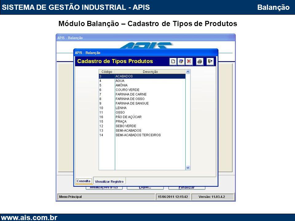 SISTEMA DE GESTÃO INDUSTRIAL - APISBalanção Módulo Balanção – Cadastro de Tipos de Produtos www.ais.com.br