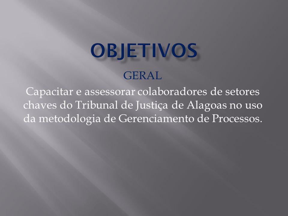 GERAL Capacitar e assessorar colaboradores de setores chaves do Tribunal de Justiça de Alagoas no uso da metodologia de Gerenciamento de Processos.