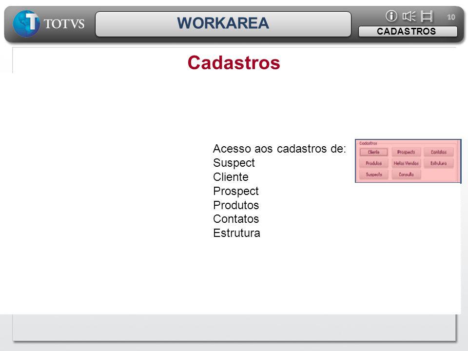 10 WORKAREA Cadastros CADASTROS Acesso aos cadastros de: Suspect Cliente Prospect Produtos Contatos Estrutura