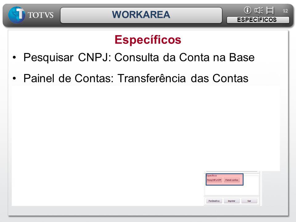 12 WORKAREA Específicos ESPECÍFICOS •Pesquisar CNPJ: Consulta da Conta na Base •Painel de Contas: Transferência das Contas