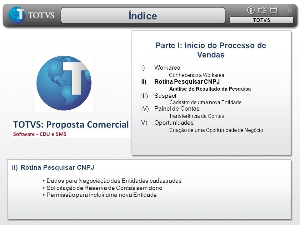 13 I)Workarea Conhecendo a Workarea II)Rotina Pesquisar CNPJ Análise do Resultado da Pesquisa III)Suspect Cadastro de uma nova Entidade IV)Painel de C