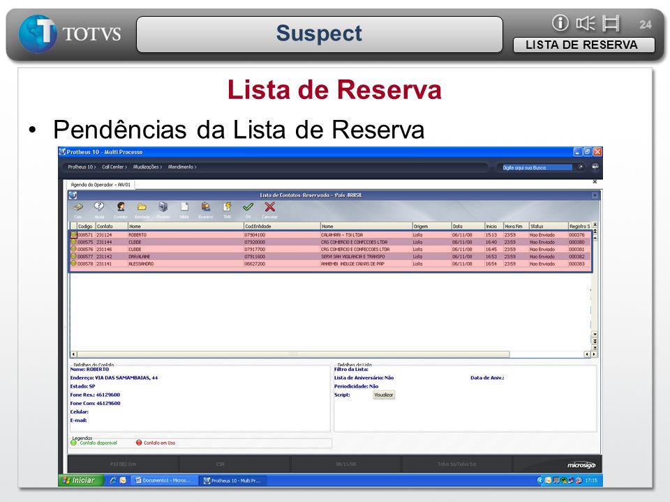 24 Suspect Lista de Reserva LISTA DE RESERVA •Pendências da Lista de Reserva