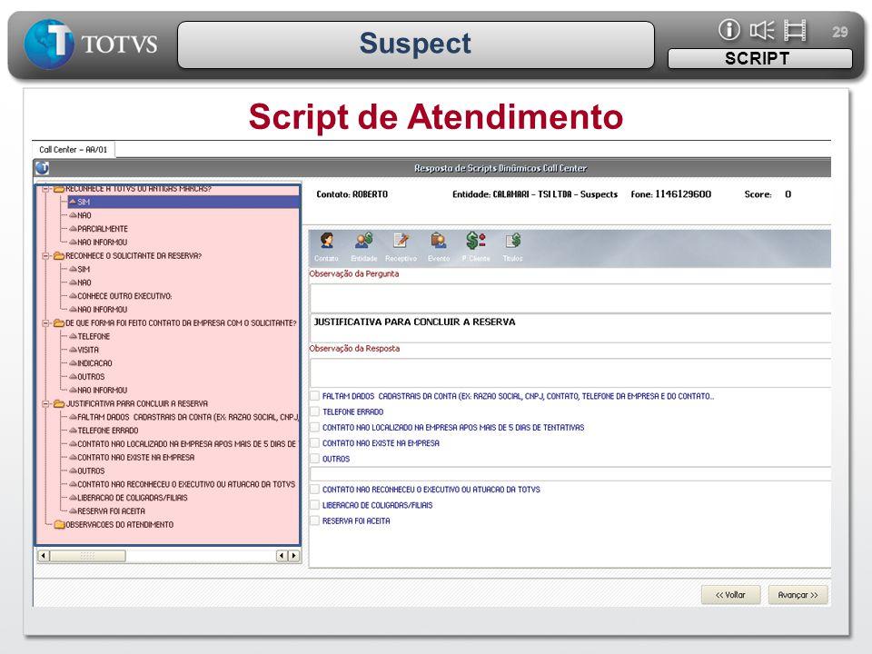 29 Suspect Script de Atendimento SCRIPT