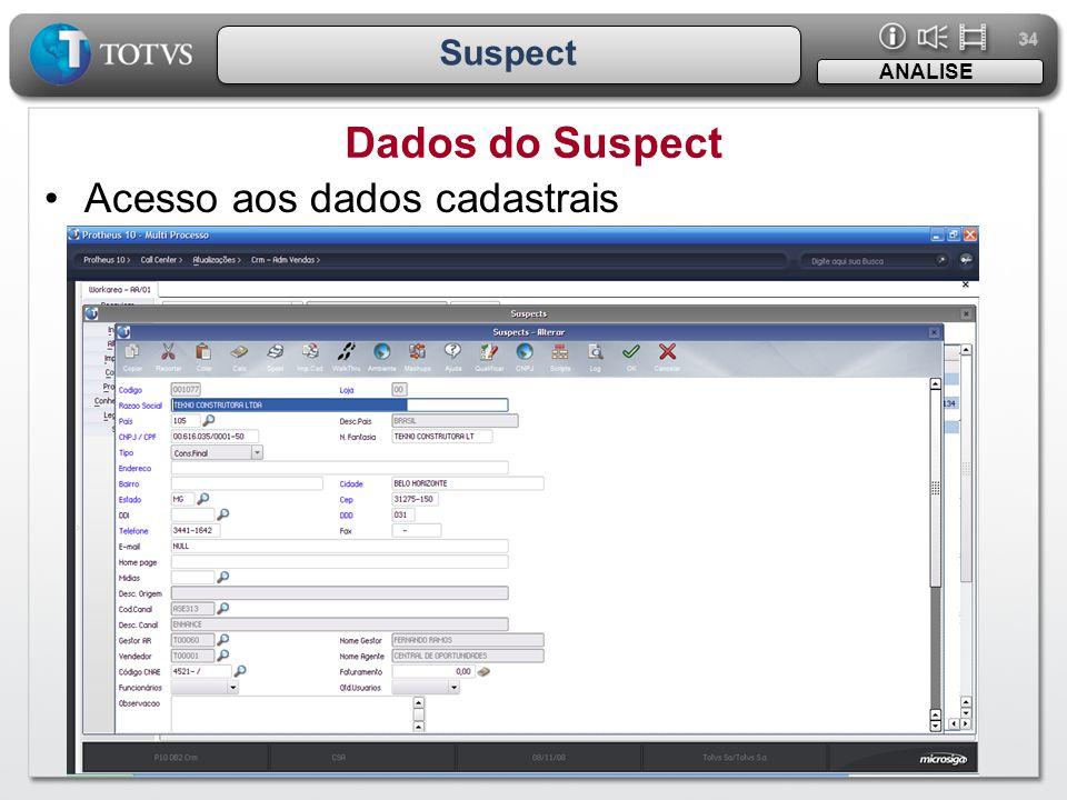 34 Suspect Dados do Suspect ANALISE •Acesso aos dados cadastrais