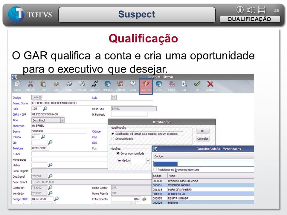 36 Suspect Qualificação QUALIFICAÇÃO O GAR qualifica a conta e cria uma oportunidade para o executivo que desejar.