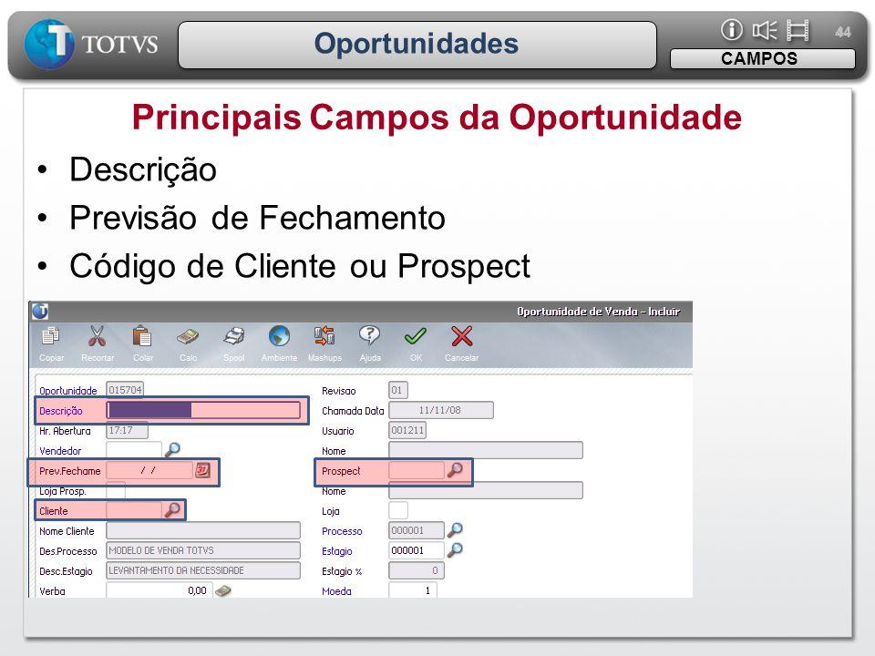 44 Oportunidades Principais Campos da Oportunidade CAMPOS •Descrição •Previsão de Fechamento •Código de Cliente ou Prospect