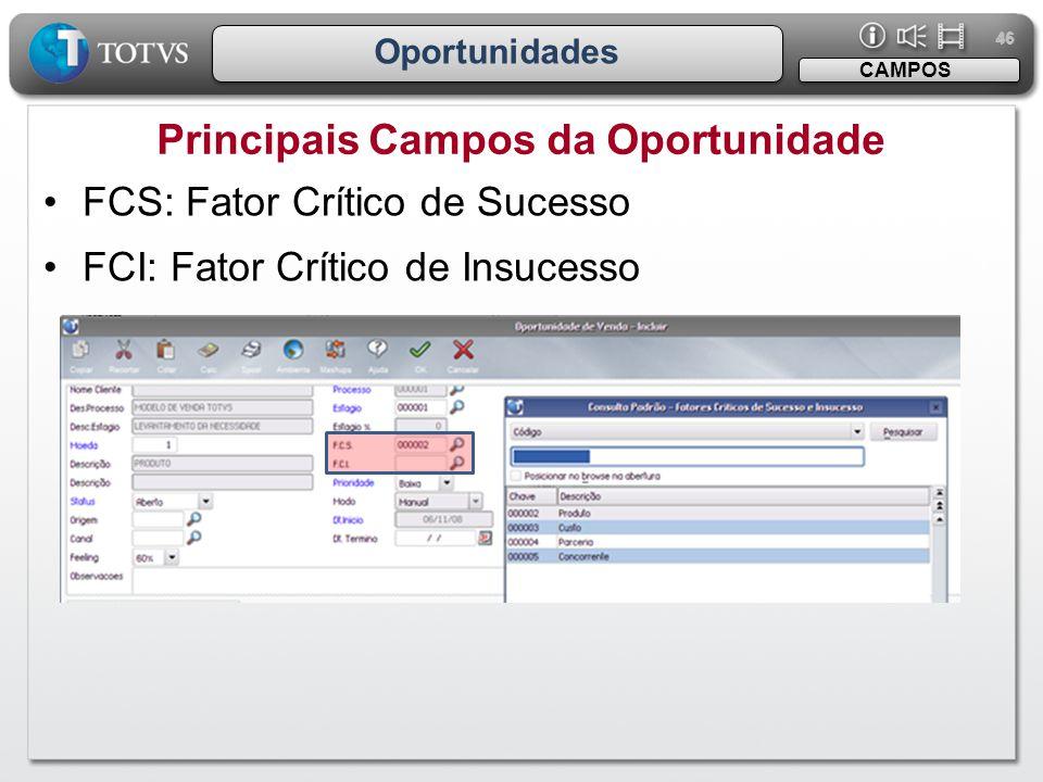 46 Oportunidades Principais Campos da Oportunidade CAMPOS •FCS: Fator Crítico de Sucesso •FCI: Fator Crítico de Insucesso