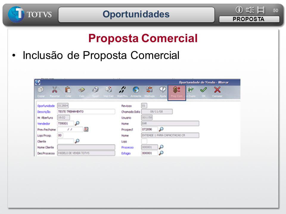 50 Oportunidades Proposta Comercial PROPOSTA •Inclusão de Proposta Comercial