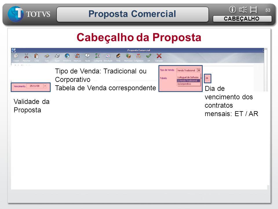 53 Proposta Comercial Cabeçalho da Proposta CABEÇALHO Tipo de Venda: Tradicional ou Corporativo Tabela de Venda correspondente Dia de vencimento dos c