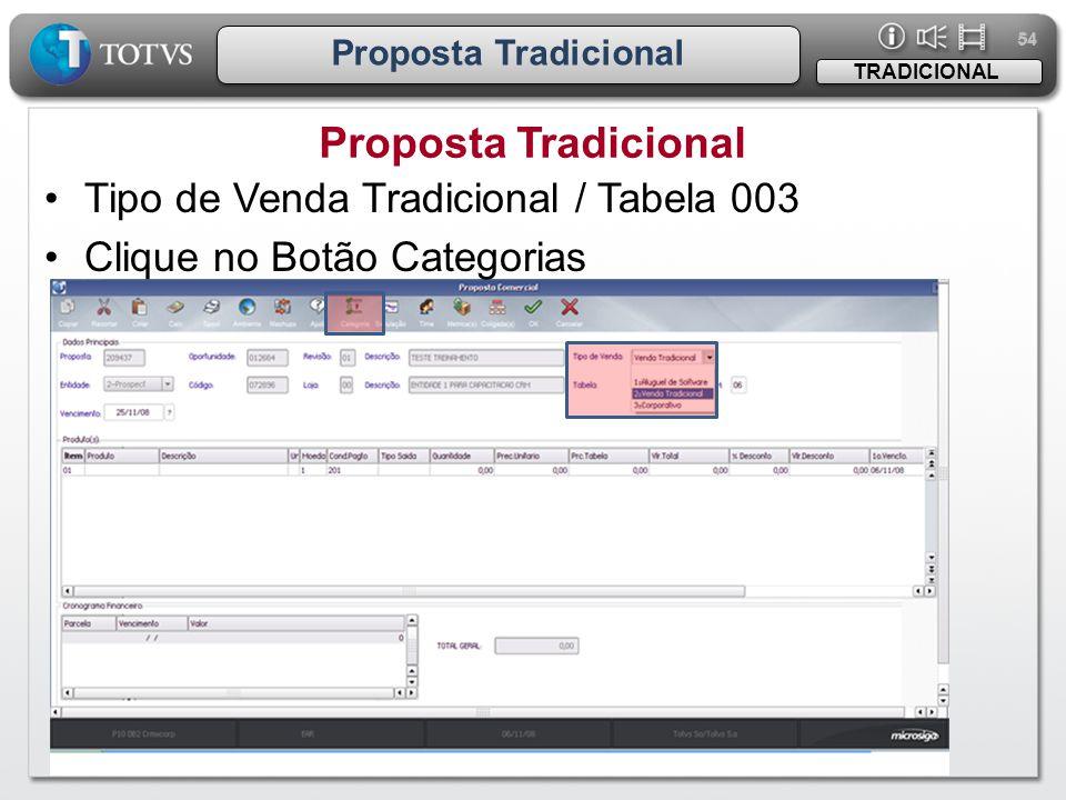 54 Proposta Tradicional TRADICIONAL •Tipo de Venda Tradicional / Tabela 003 •Clique no Botão Categorias
