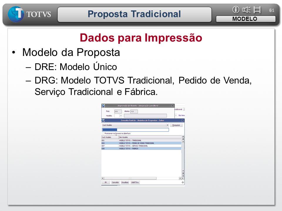 61 Proposta Tradicional Dados para Impressão MODELO •Modelo da Proposta –DRE: Modelo Único –DRG: Modelo TOTVS Tradicional, Pedido de Venda, Serviço Tr