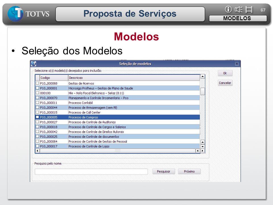 67 Proposta de Serviços Modelos MODELOS •Seleção dos Modelos