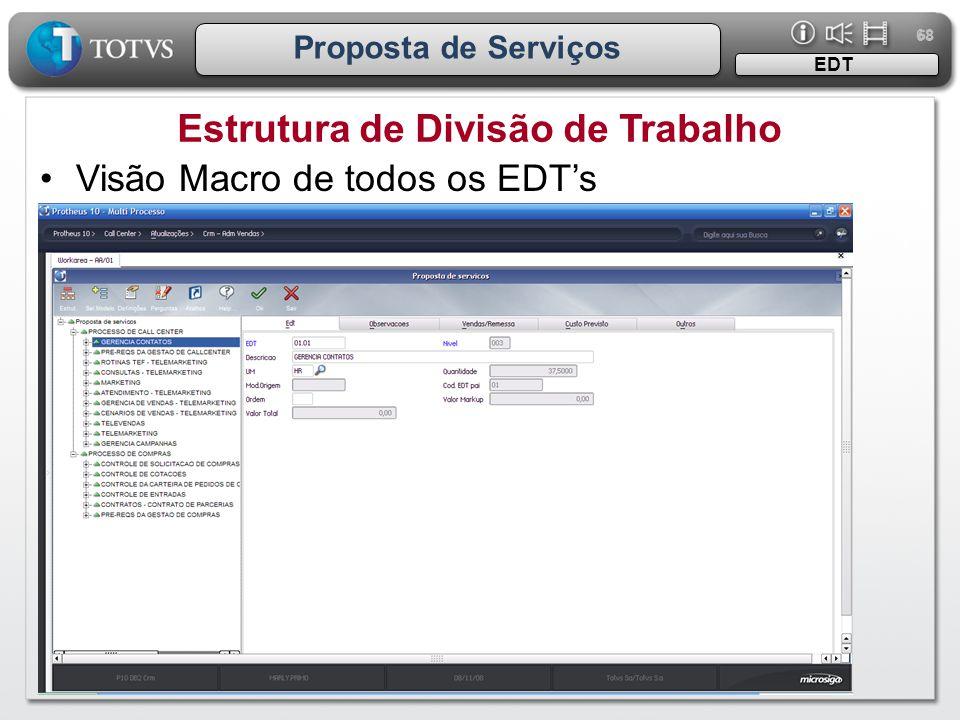 68 Proposta de Serviços Estrutura de Divisão de Trabalho EDT •Visão Macro de todos os EDT's